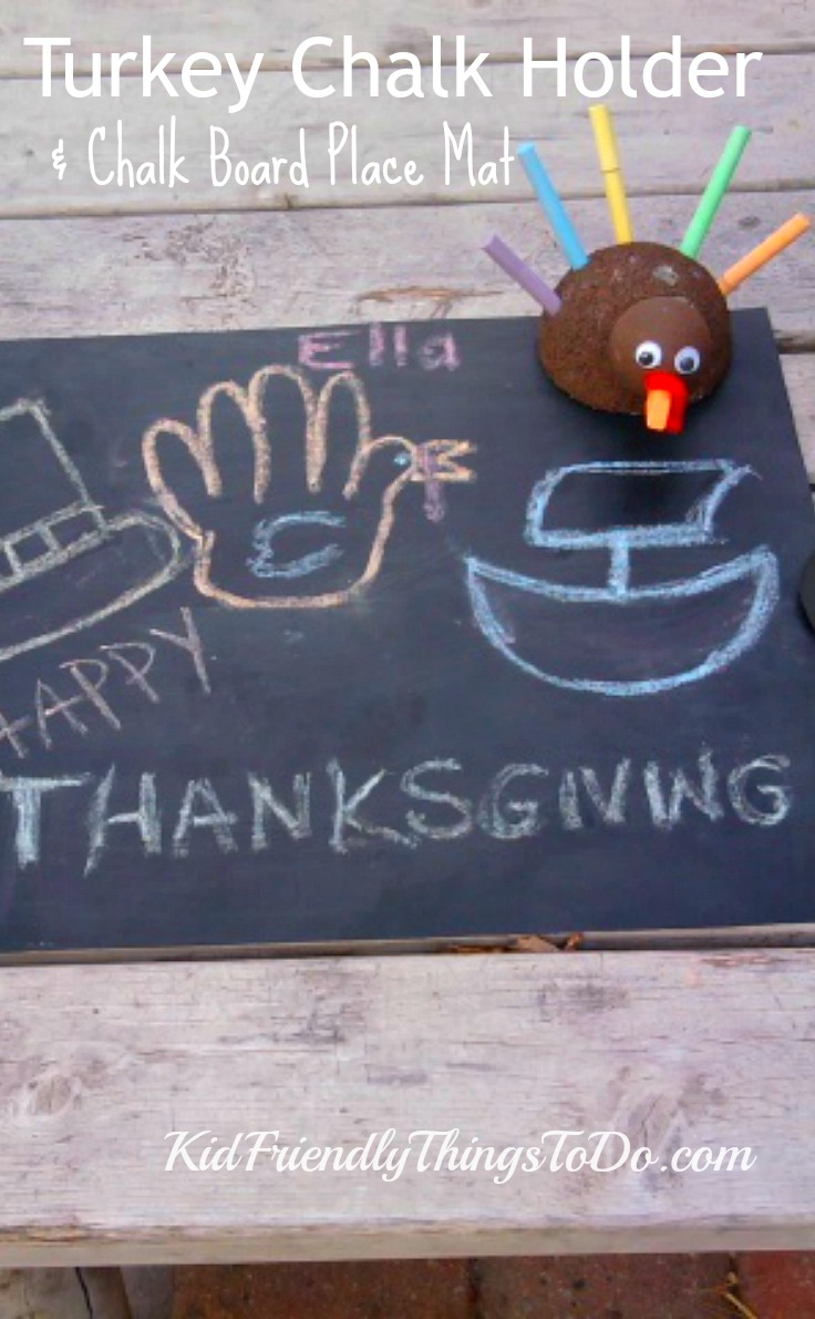 Great idea for Kid's Thanksgiving Setting! Chalk Turkey Craft and Chalkboard Place Mat to draw on! - KidFriendlyThingsToDo.com