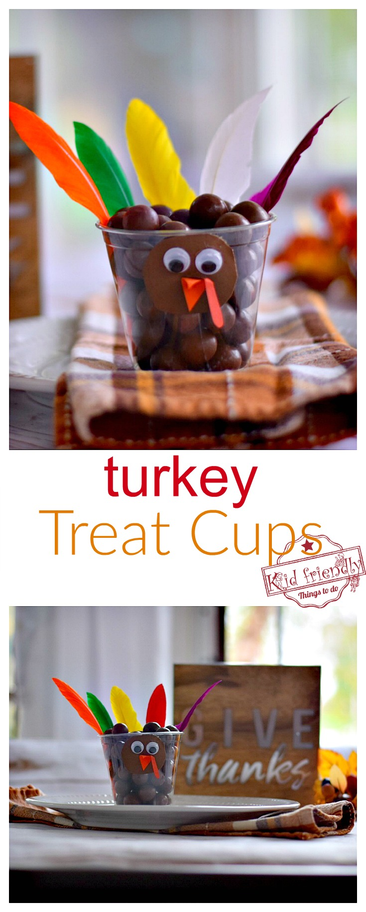 Fun Candy Turkey Treat Cups for a Thanksgiving Food Craft - fun idea for the kid's table or a party at school! www.kidfriendlythingstodo.com