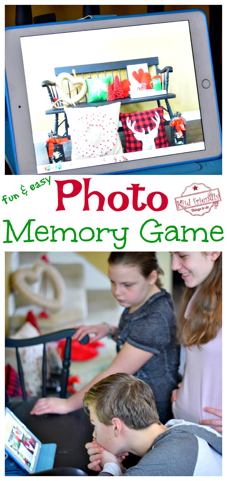 Photo Memory Game for Kids, Teens & Adults! My family LOVES this game! Fun CHEAP & Easy Game For All - Teams have to work together to win! Perfect anytime or for any holiday - Valentine's Day, Easter, Christmas, Halloween, Thanksgiving...Great family game to play together. www.kidfriendlythingstodo.com