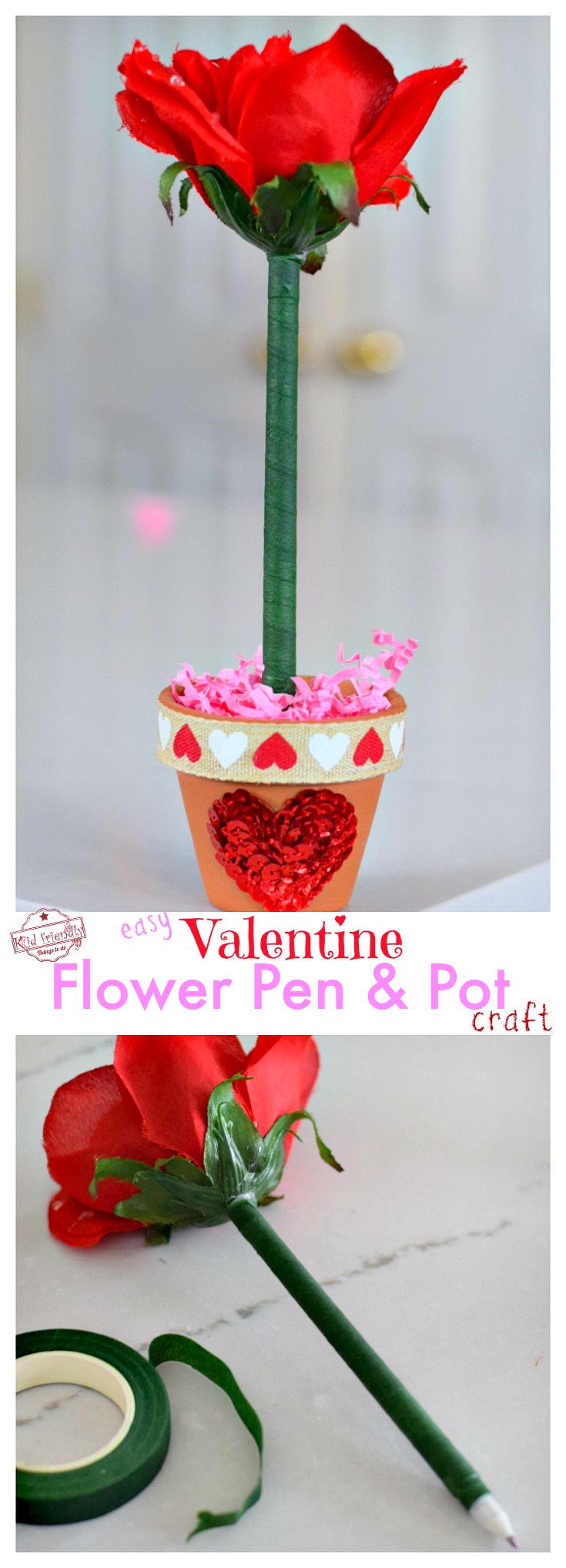 Love this Easy DIY Flower Pen and Terra Cotta Pot Craft for a Valentine's Day Gift - Perfect for kids or teens to make and give away! So Cute & easy! Perfect for school parties or a gift for your love! www.kidfriendlythingstodo.com