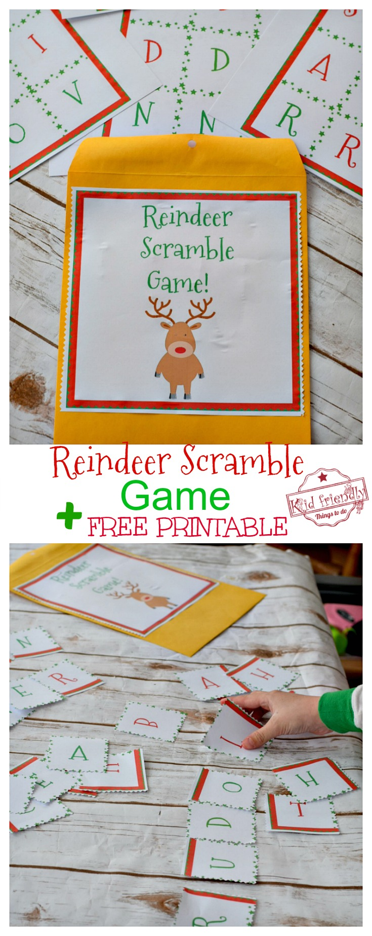 reindeer scramble game for kids to play at christmas