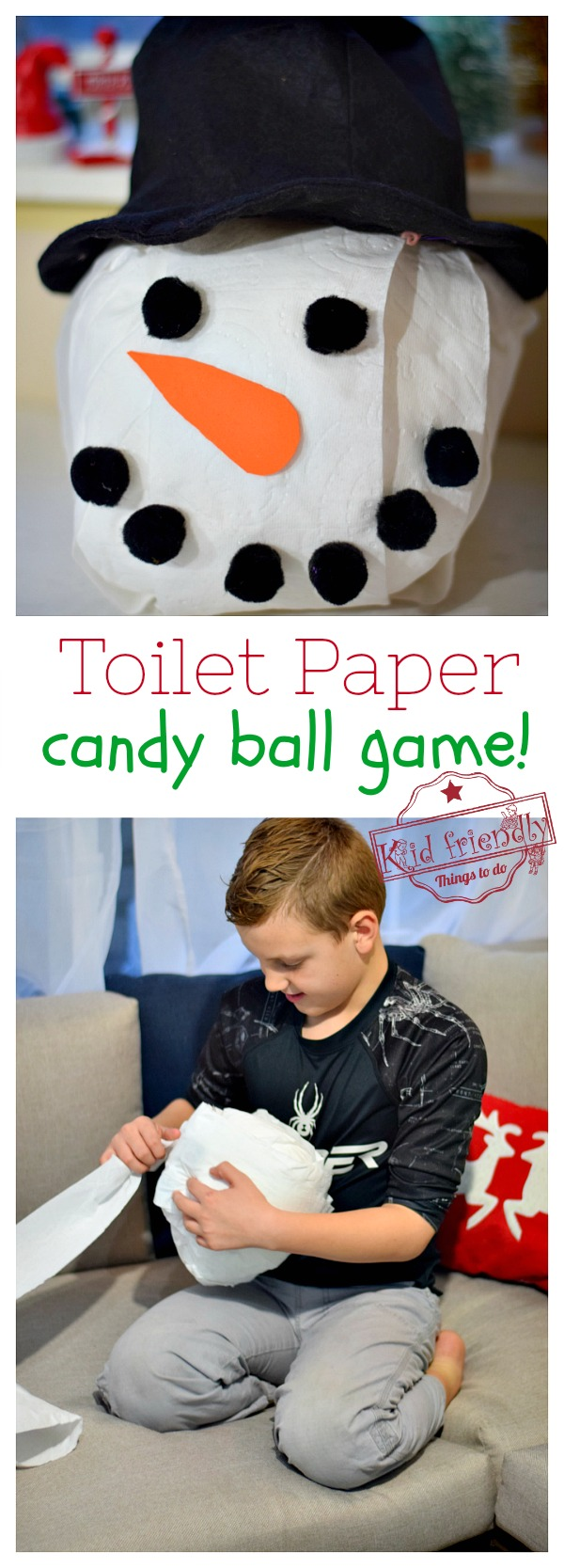 Toilet paper candy ball christmas game