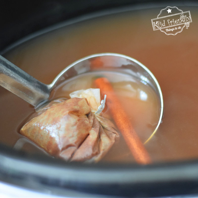 spiced wassail in a slow cooker