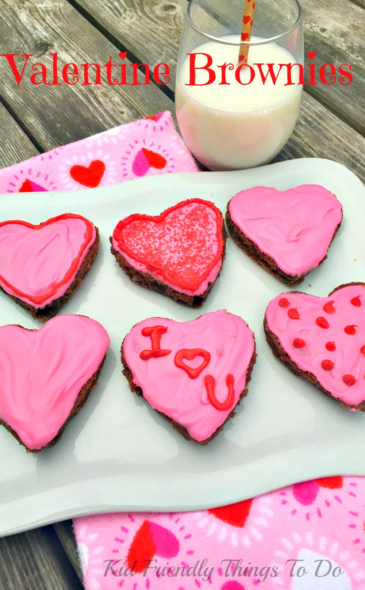 Write fun messages on these Heart Shaped Valentine Brownies Fun Food - KidFriendlyThingsToDo.com