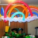 rainbow balloons at a party