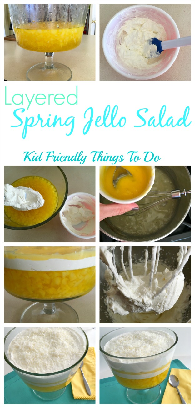 Delicious 4 Layered Spring Jello Salad recipe - cream cheese, custard, jello, pineapple, coconut, and more! Delicious and so cheerul for the Spring and Easter table or summer picnics! - KidFriendlyThingsToDo.com