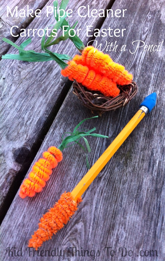 Making Chenille or Pipe Cleaner Carrots with a pencil!