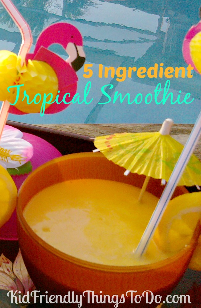 5 Ingredient Tropical Smoothie For Kids, and Kids At Heart Recipe
