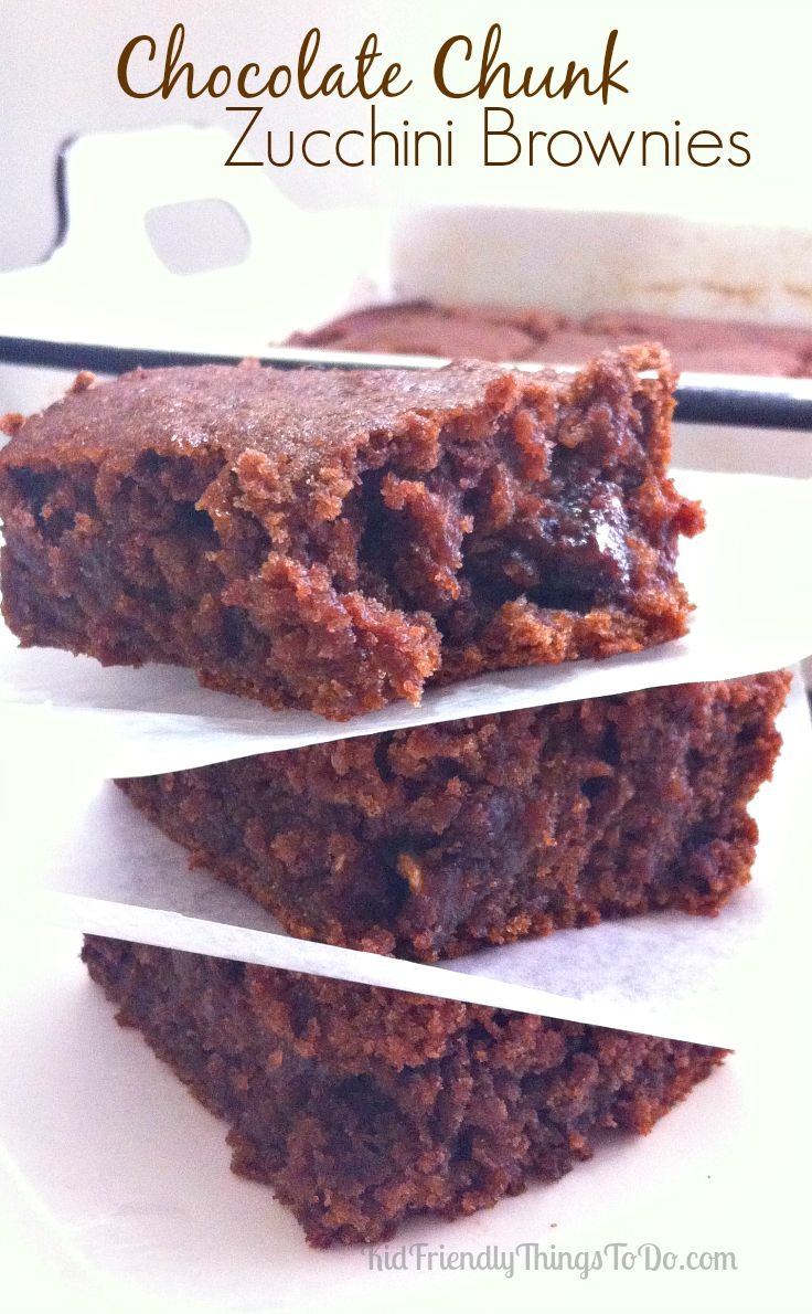 These are the best! My kids loved these zucchini brownies. They even knew the zucchini was in there because they helped make them! Chocolate chunks, and chocolate chips make these brownies irresistable!