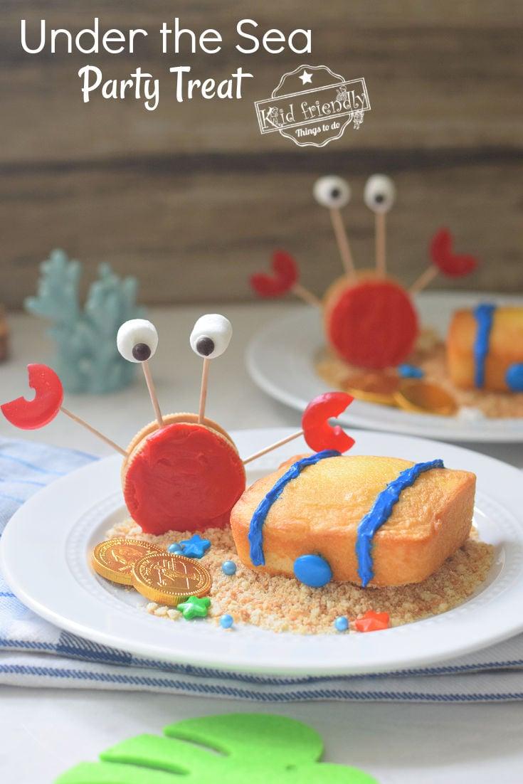 crab cupcake topper and pound cake treasure chest