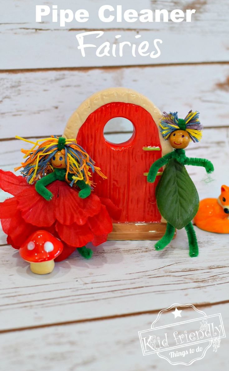 Pipe cleaner garden fairies - fairy dolls for fairy gardens. Fun and easy to make with the kids www.kidfriendlythingstodo.com