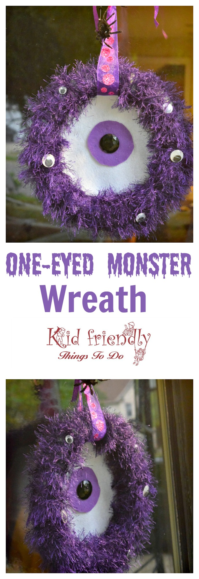 A DIY One-eyed Monster Wreath for Halloween - easy to make and so cute as a Halloween decoration - www.kidfriendlythingstodo.com