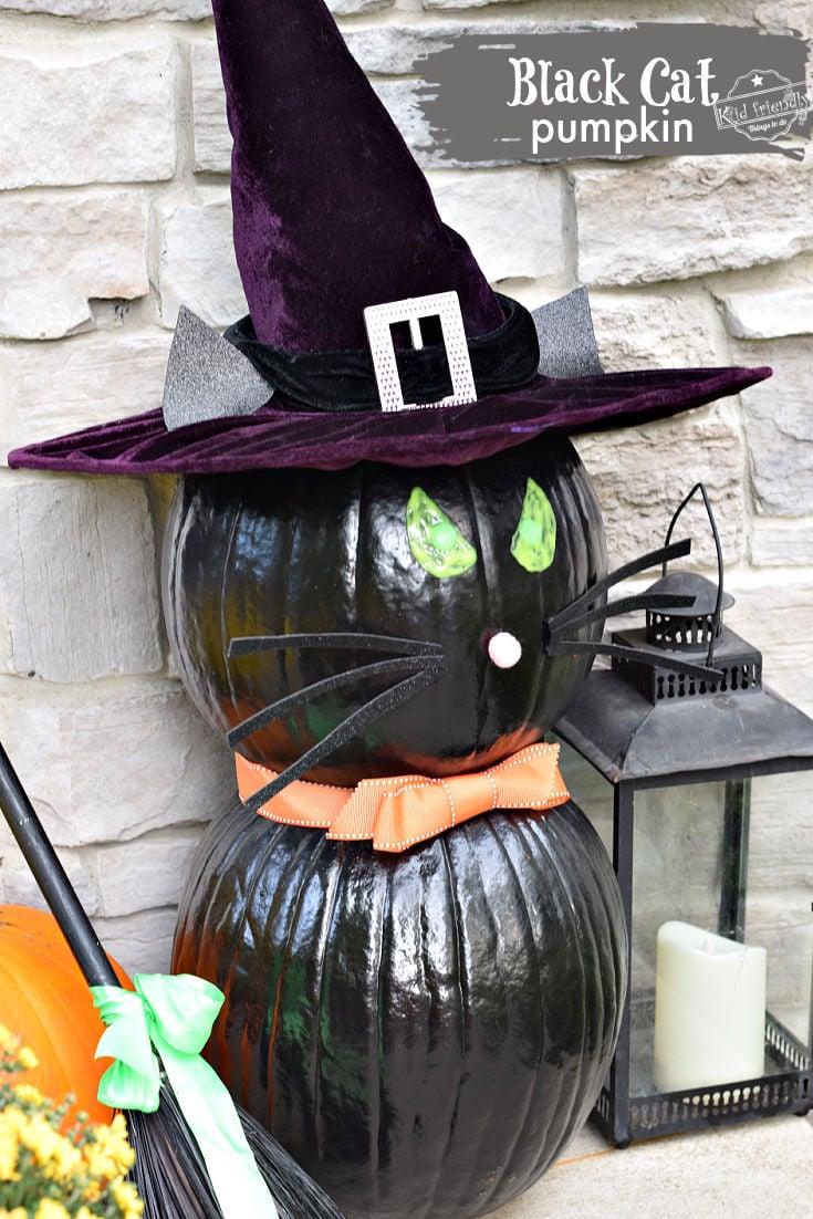 black cat pumpkin for Halloween