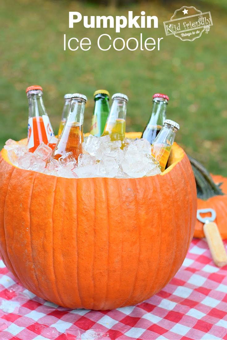 pumpkin ice cooler for parties