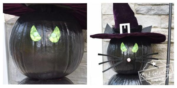 making a black cat pumpkin