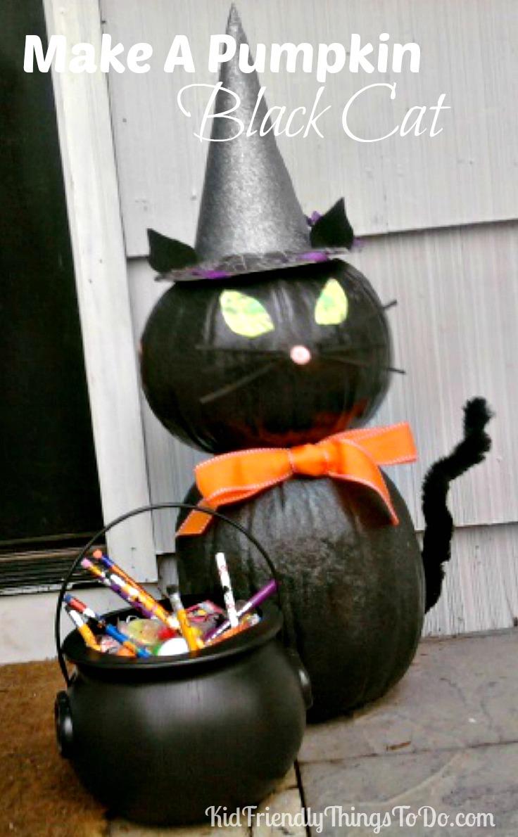 Make A Black Cat Out Of Pumpkins