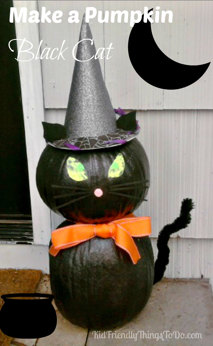 Make a pumpkin Black Cat Halloween Decoration - KidFriendlyThingsToDo.com