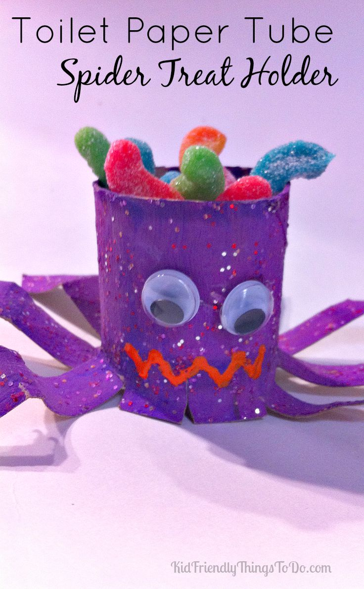 DIY Toilet Paper Tube Spider Treat Holder   Kid Friendly Things To Do