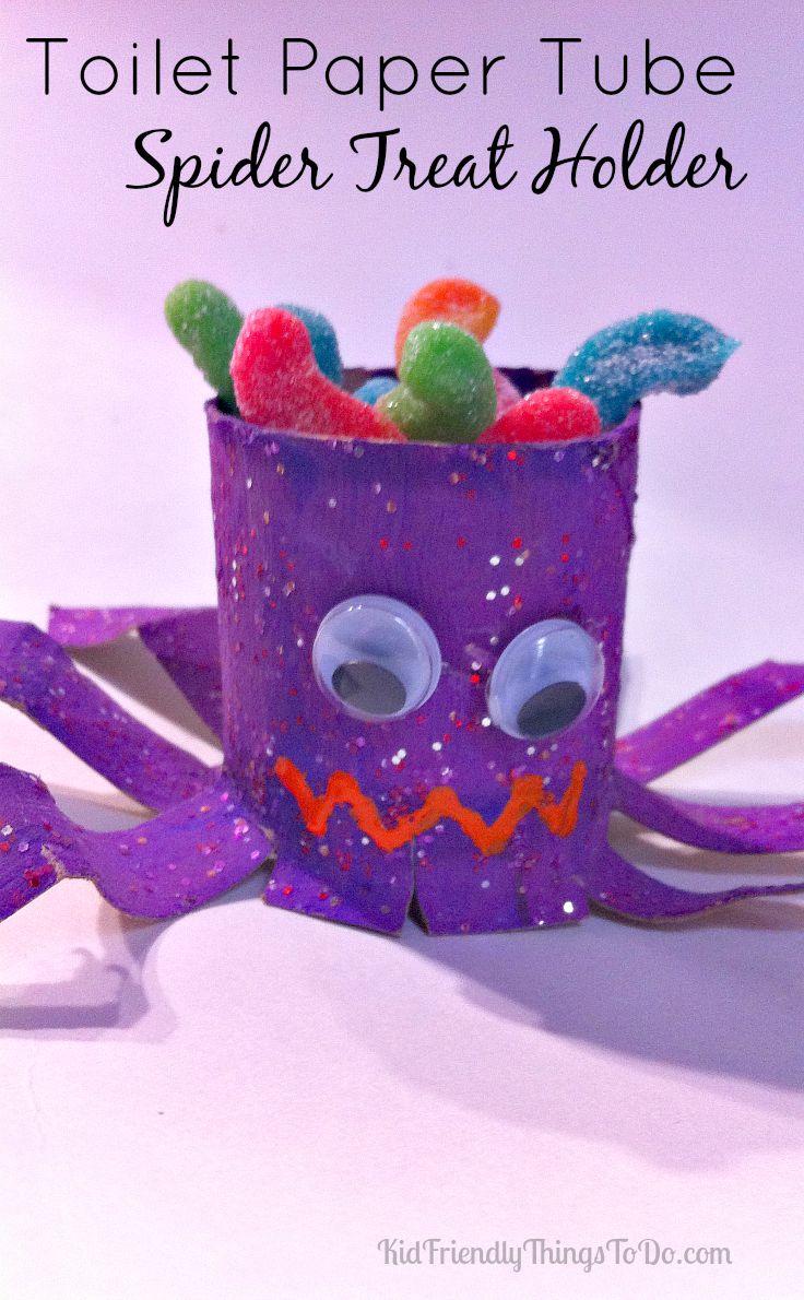 DIY Toilet Paper Tube Spider Treat Holder! - KidFriendlyThingsToDo.com