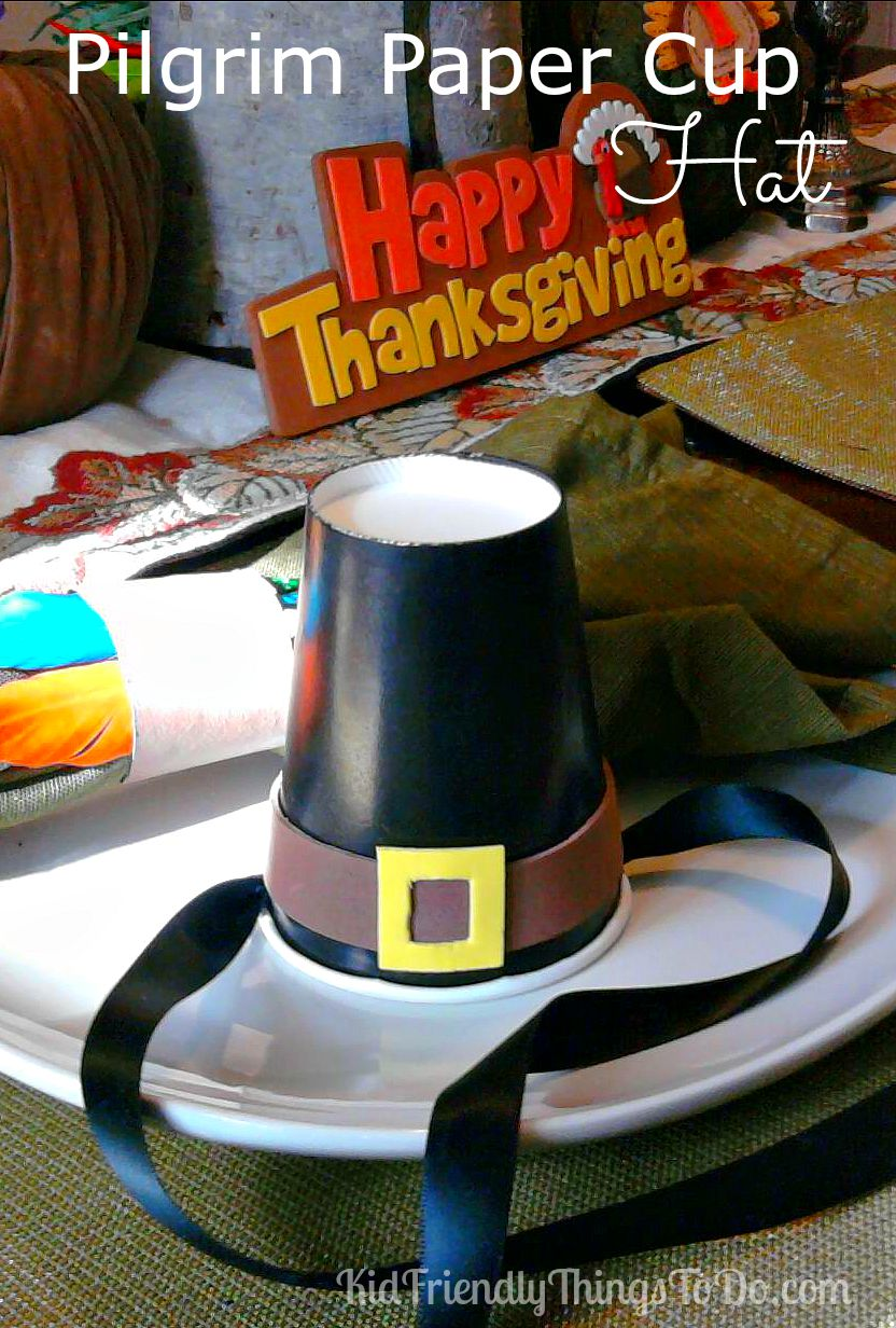 Pilgrim Paper Cup Hat Craft for Thanksgiving! KidFriendlyThingsToDo.com