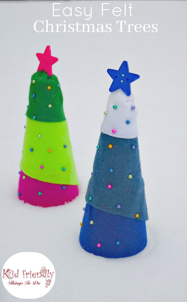 Easy christmas tree craft using styrofoam trees and push pins easy felt christmas tree craft for kids to make perfect for holiday parties www solutioingenieria Gallery
