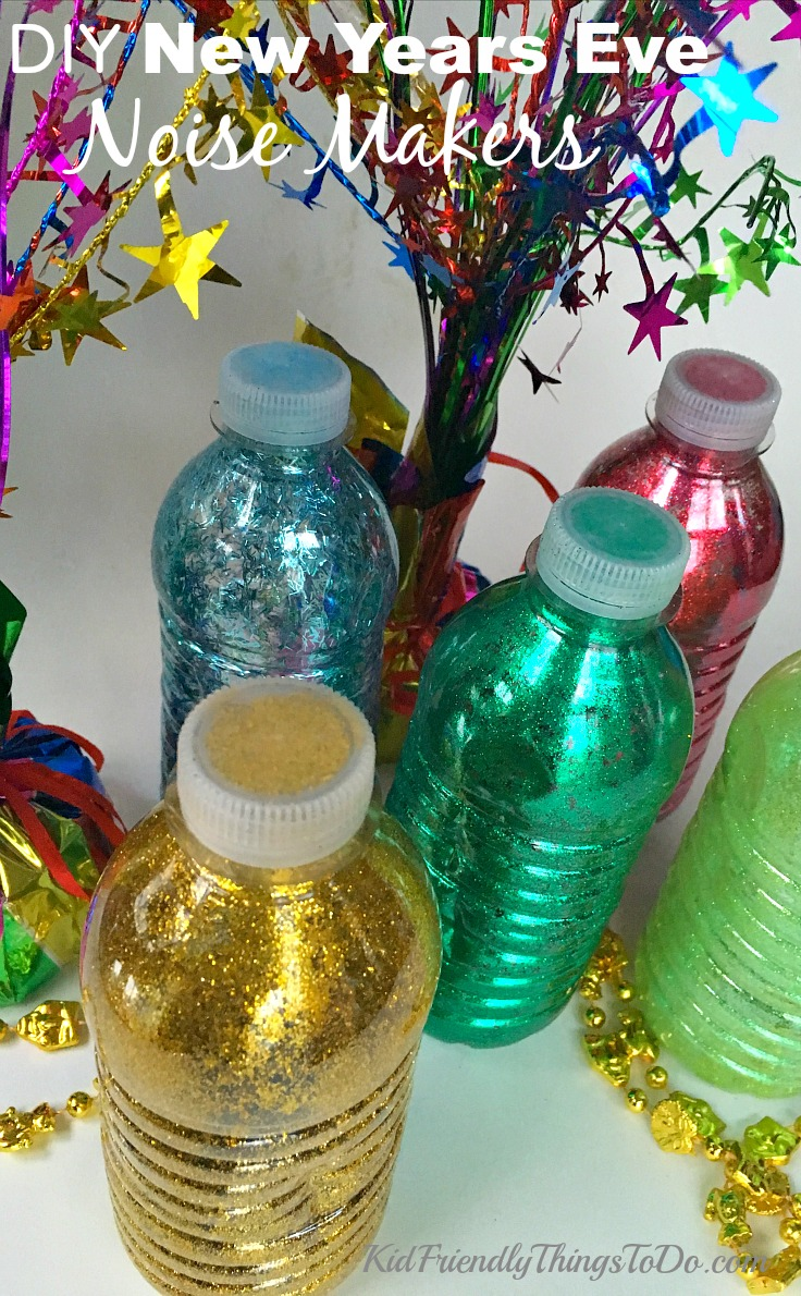 Make New Years Eve Noise Makers out of recycled water bottles for the kids or the adults at your party! Easy to make!  - KidFriendlyThingsToDo.com
