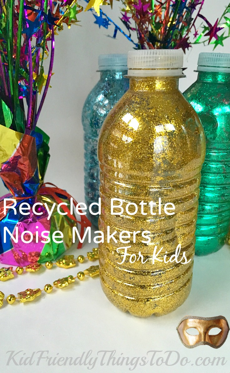Make your own noise makers for new years eve for Water bottle recycling ideas