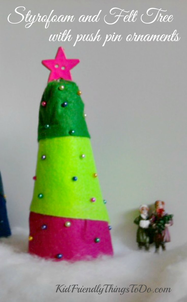 Easy Peasy Christmas Craft for kids! - Styrofoam Christmas tree with push pin ornaments - KidFriendlyThingsToDo.com