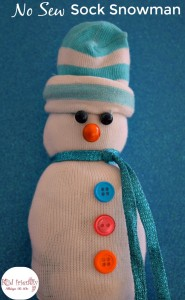 """Make A """"No Sew"""" Snowman Out Of Socks – A Kid Friendly Craft"""