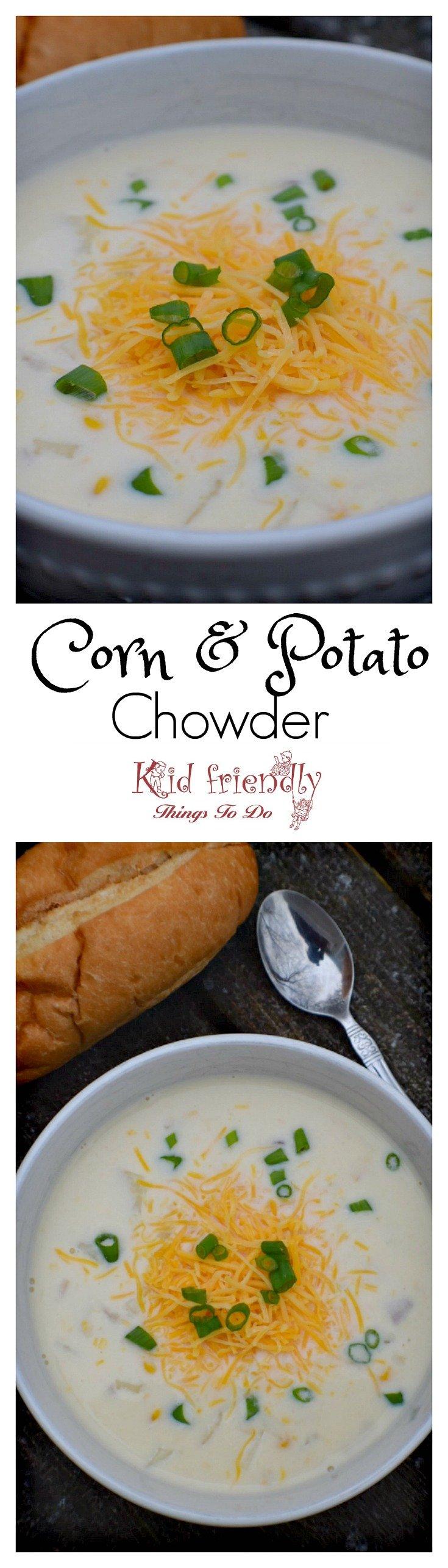 Quick and Easy Corn and Potato Chowder Recipe - www.kidfriendllythingstodo.com