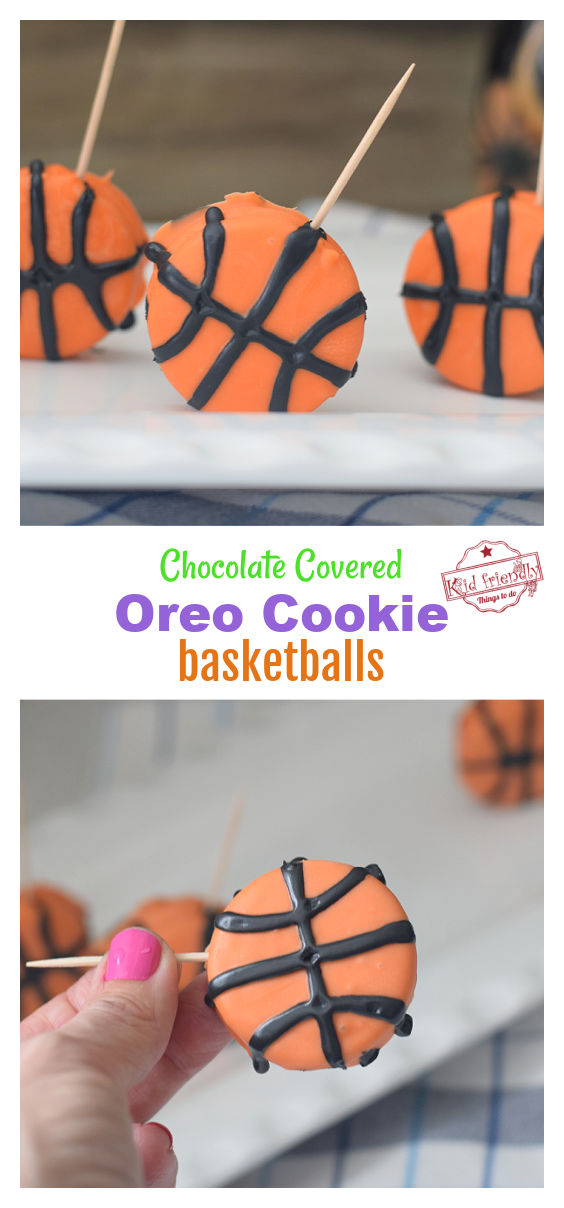 Chocolate Covered Oreo Cookie Basketball Party Treats