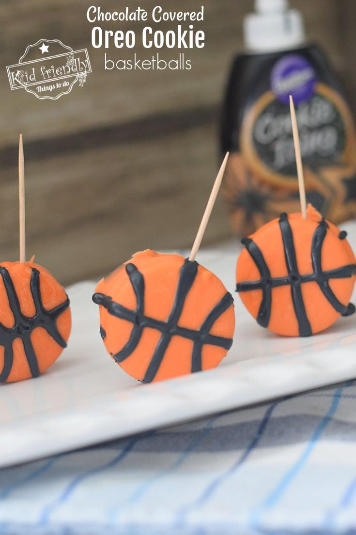 Chocolate Covered Oreo Cookie Basketball Treats