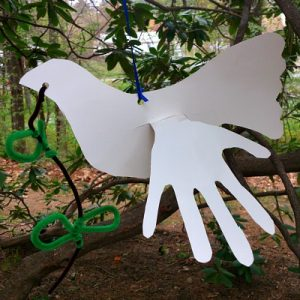 A Dove Craft With Child Hand Prints For Wings