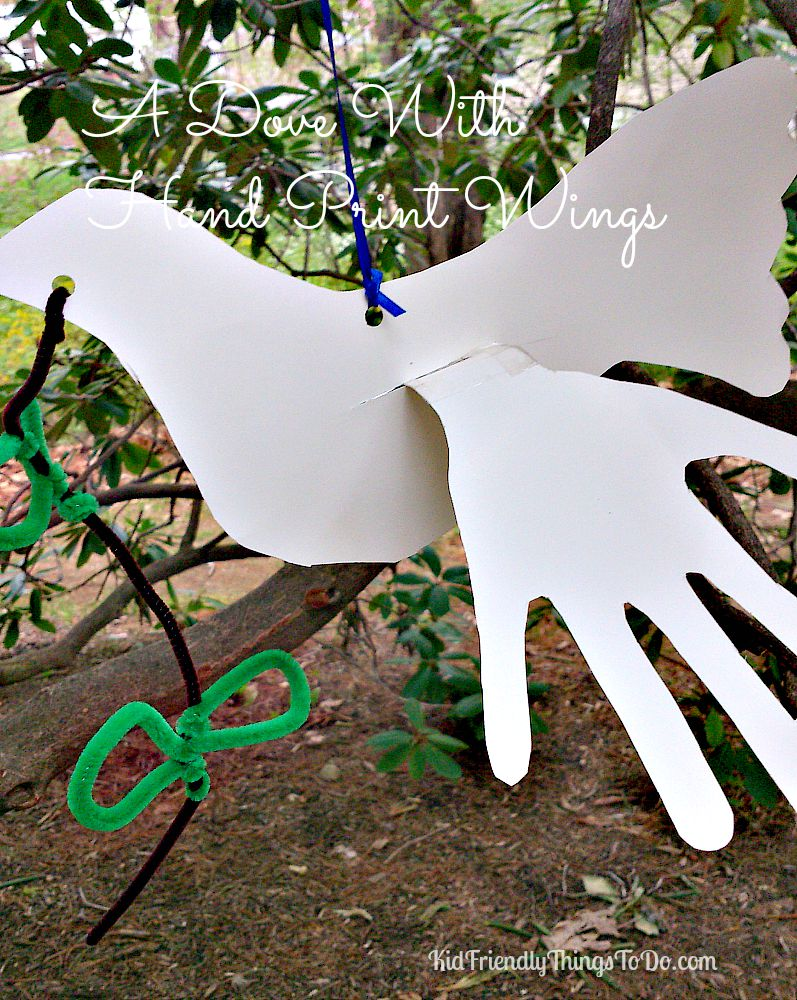 A Dove Craft using Hand Prints as Wings. KidFriendlyThingsToDo.com