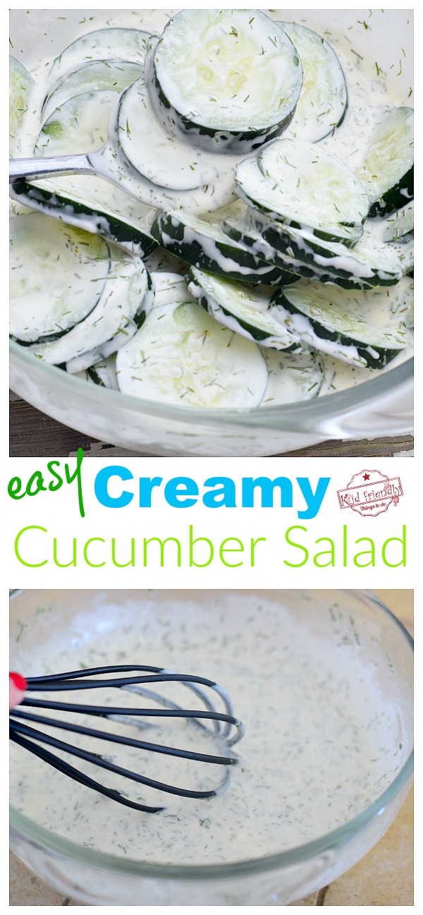 Creamy Cucumber Salad. Cucumber dill dressing mixed in bowl.