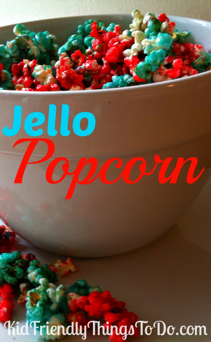Jello Popcorn Recipe. This is the most delicious popcorn! What a fun idea to color it blue, and red. Patriotic popcorn for summertime dinners!