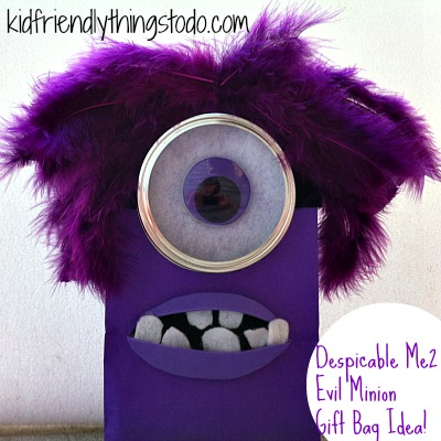 Despicable Me 2 Evil Purple Minion Gift Bag Idea!