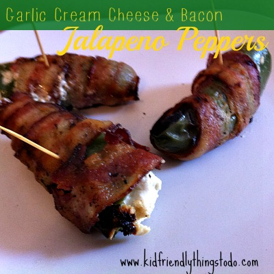 Grilled Bacon Wrapped and Garlic Cream Cheese Stuffed Jalapeno Peppers!