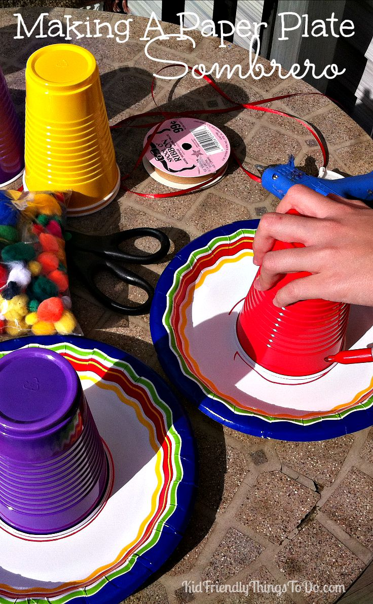 a523cb8e2f9f2 Make a Paper Plate Sombrero for Cinco De Mayo or anything else you can  think of