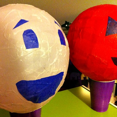 Paper mache halloween lanterns or night lights kid for Things to make with paper mache