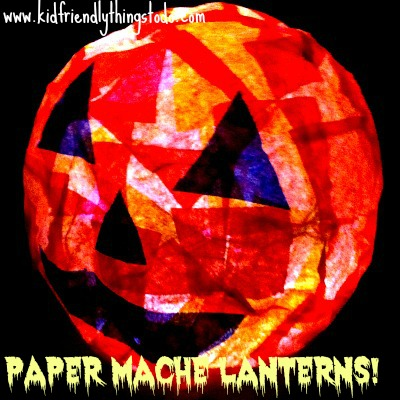 Easy and Fun Halloween Paper Mache Lanterns to light up the spooky night! The possibitlities are endless! Make witches, ghosts, pumpkins, Frankenstein, Cats, Owls! Fun Stuff!
