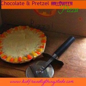 Halloween Chocolate pretzel pizza recipe
