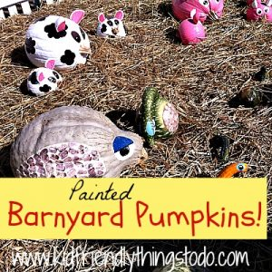 DIY painted pumpkins - barnyard animals