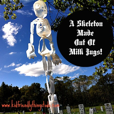 A Skeleton Made Out of Milk Jugs would look Spooktacular hanging from trees in your front yard!