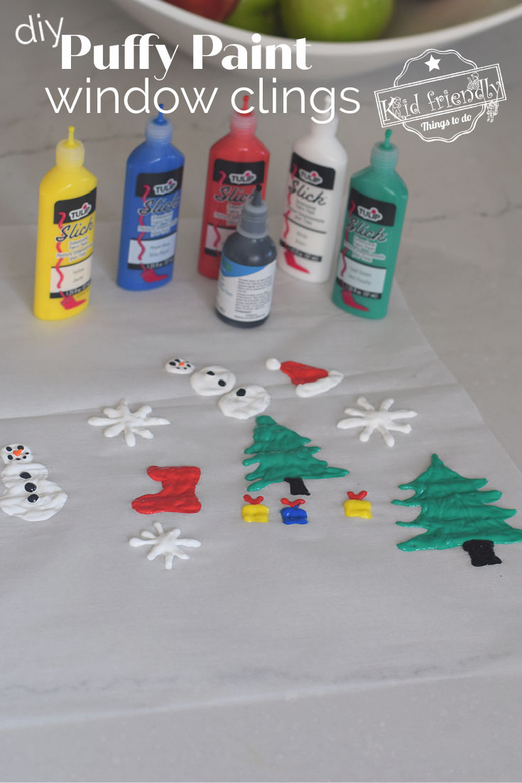 Christmas puffy paint window clings