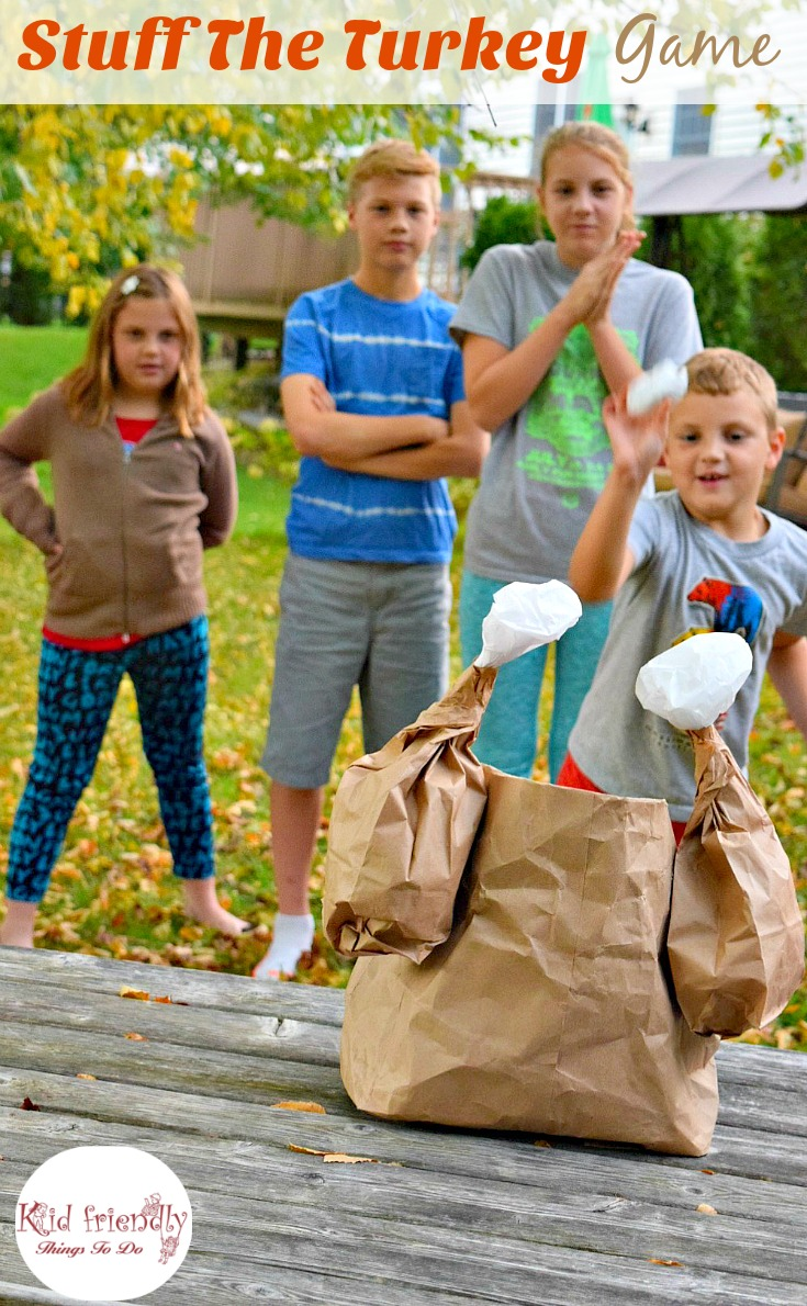 Stuff the Turkey Thanksgiving game with kids