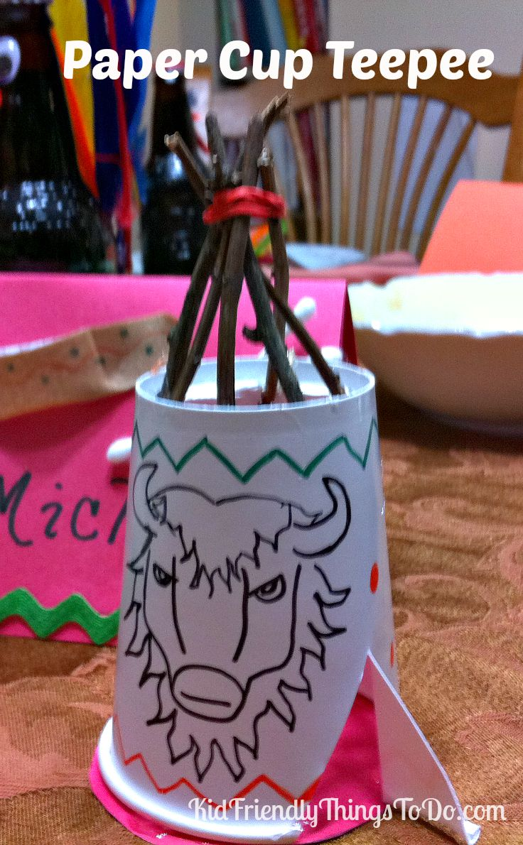 A Paper Cup Teepee Craft for Thanksgiving! KidFriendlyThingsToDo.com