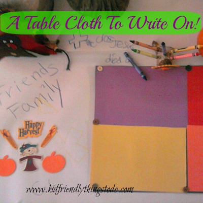 Use Easel Paper for an Instant Tablecloth For Thanksgiving to color, and explore creativity!