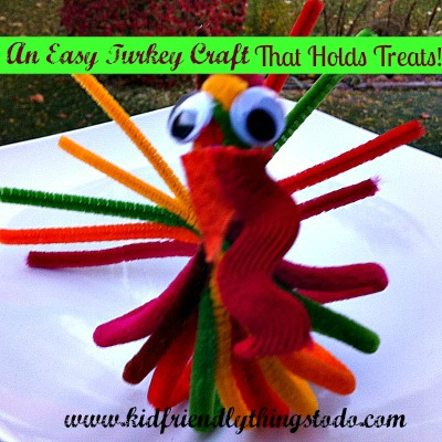 An Adorable and Easy Turkey Craft for Thanksgiving! This Turkey even holds a bag of treats in it's belly! A great Place card holder, Classroom Craft, or Surprise for the Kid's Thanksgiving Table