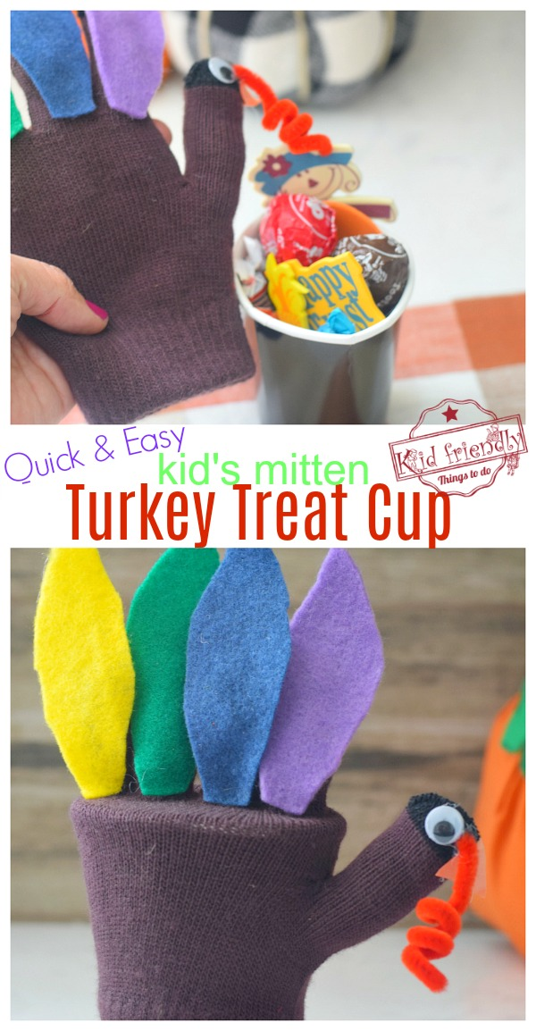making a thanksgiving turkey treat cup